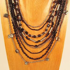 24-034-Waterfall-Multi-Strand-Mixed-Bead-Black-amp-Silver-Handmade-Seed-Bead-Necklace