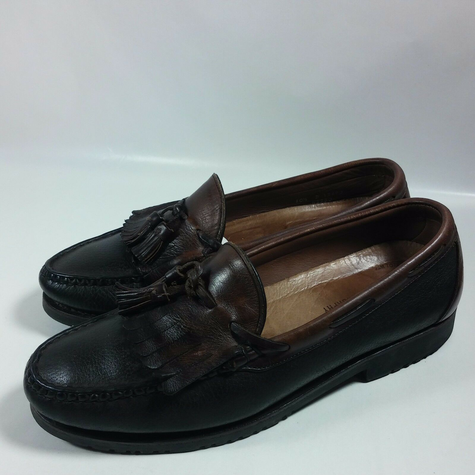 VINTAGE Men's Allen Edmonds Tassel Loafers shoes 2 Tone Brown Leather-10.5 D