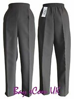 New Women's Ladies Half Elastic Straight Leg Trousers Pants UK Size 12 to 24