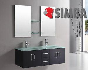 Mobile bagno arredo bagno 151 cm doppio lavabo rubinetti inclusi ice nero lacc ebay - Rubinetti lavabo bagno ...