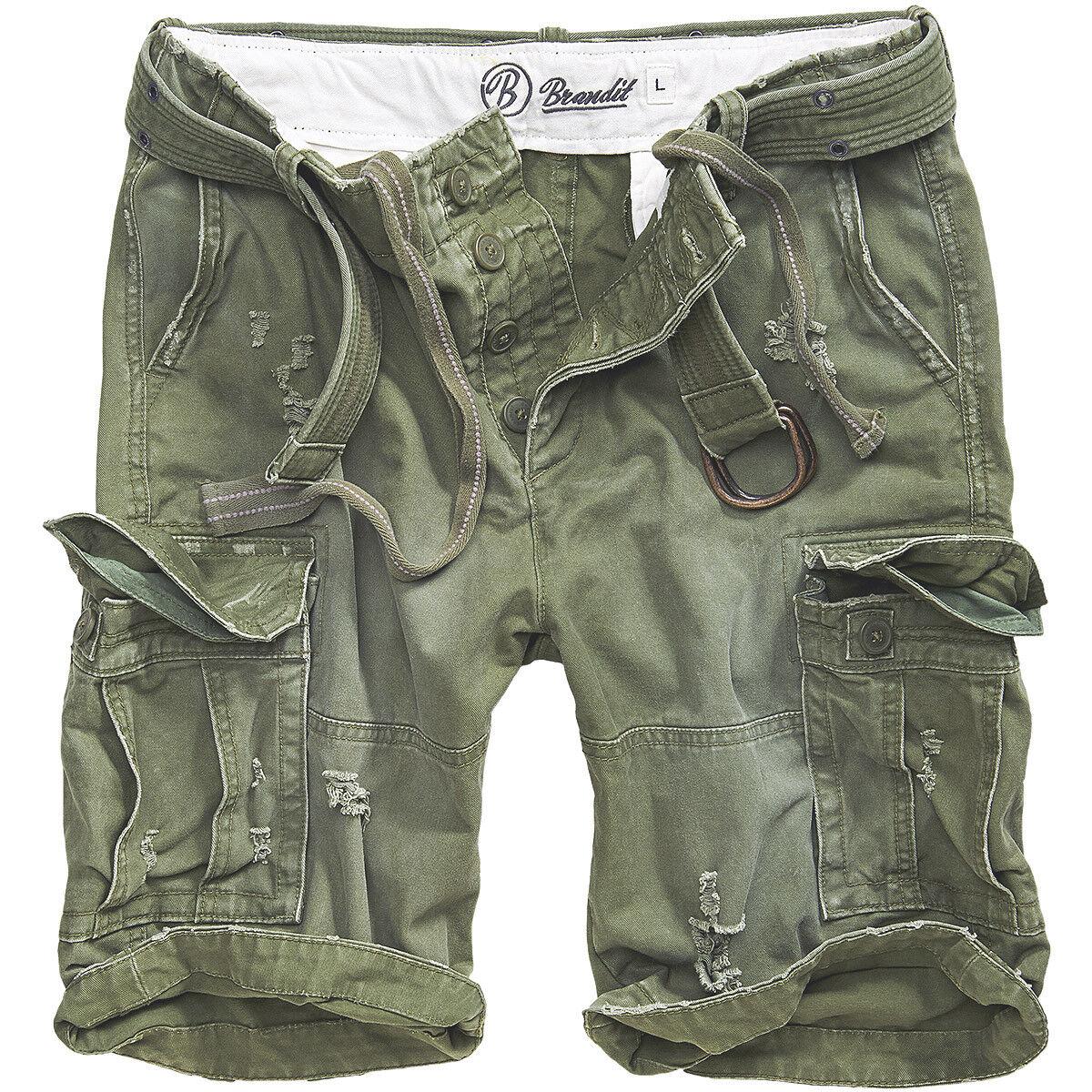 Brandit Shell Valley Heavy Cotton Vintage Mens Shorts Hiking Travel Pants Olive