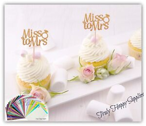 Miss-to-Mrs-Bridal-Shower-Cupcake-toppers-29-Glitter-colours-Engagement-Hen
