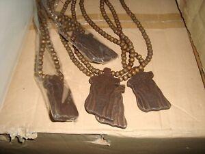 Details About Wholesale 24 Pc Lot Carved Wooden Jesus Face Pendant Brown Necklaces