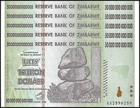 Zimbabwe 50 Trillion Dollar Banknote X 5 PCS, 2008, AA Series, NEW