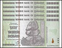 Zimbabwe 50 Trillion Dollar Banknote X 5 PCS, 2008, AA Series, NEW