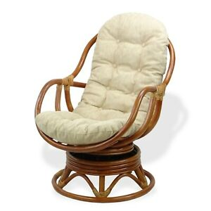 Swell Details About Natural Rattan Wicker Swivel Rocking Bali Chair With Cream Cushion Cognac Caraccident5 Cool Chair Designs And Ideas Caraccident5Info