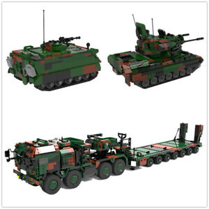MOC-Building-Blocks-Anti-Craft-Gun-Tank-Tractor-Transporter-Truck-Toys-Bricks