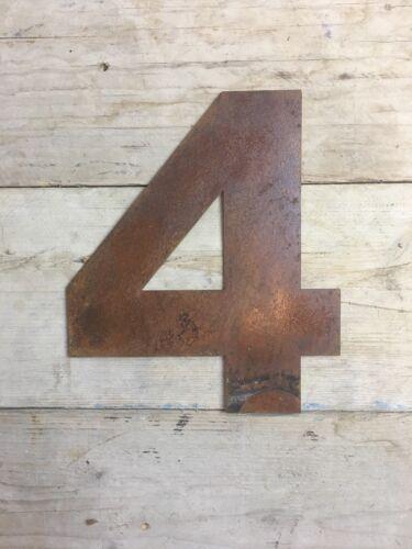 environ 30.48 cm Industrial Rusty Lettrage Lettres signe metal shop front Maison Nombre 4 12 in