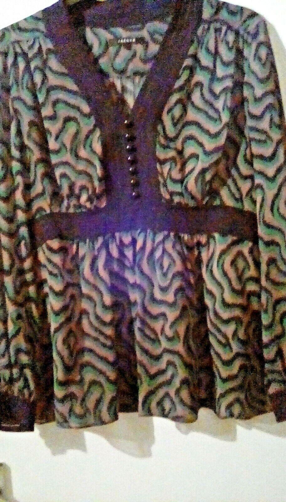 Pure Silk Jaeger schwarz Grün braun Semi sheer Patterned Top sz16. Stunning