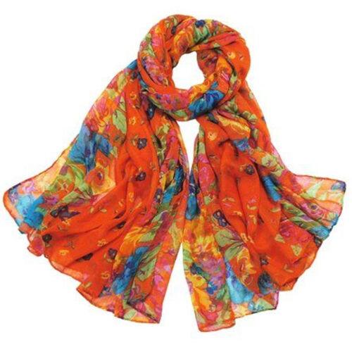 Womens Large Summer Floral Chiffon Oversized Long Wrap Thin Style Scarf UK