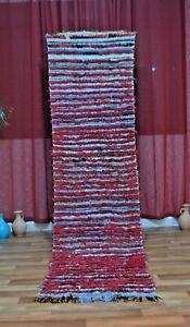 Moroccan-Handmade-Red-wool-Runner-Rug-Bohemian-Berber-Vintage-carpet-2-039-5-034-x9-039-4-034