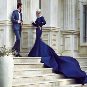 Image Is Loading Royal Blue Wedding Dress Long Sleeves Muslim Bridal