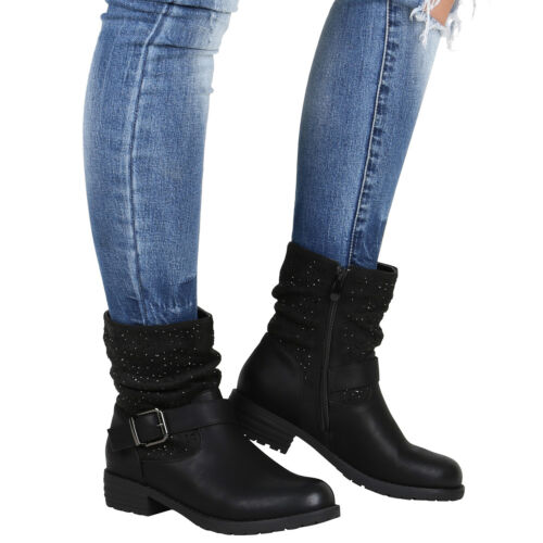 Damen Stiefeletten Biker Boots Strass Booties Leder-Optik Schuhe 812858 Top