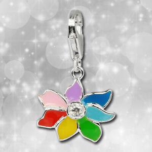 Charm Blume bunt Armband Anhänger 925 Silber FC252W von SILBERDREAM