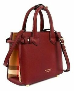 Authentic Burberry Small Banner House Check Leather Red Satchel bag