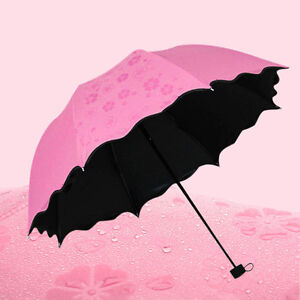 anti uv sun rain umbrella water blossom parasol windproof 3 folding portable ebay. Black Bedroom Furniture Sets. Home Design Ideas