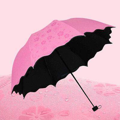 Hot Anti UV Sun Rain Umbrella Water Blossom Parasol Windproof 3 Folding Portable