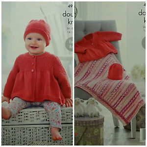 81e9f9270060 KNITTING PATTERN Baby Easy Knit Smock Coat Hat and Blanket King Cole ...