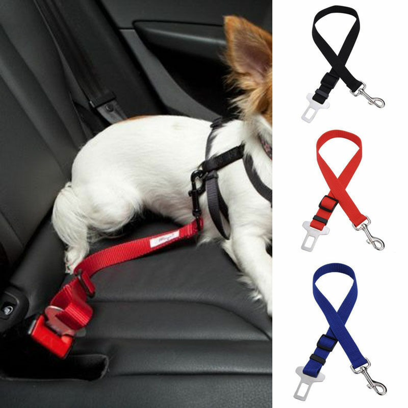 Pink Adjustable Pet Dog Cat Car Seat Belt Safety Leads Vehicle Seatbelt Harness Made from Nylon Fabric Pet Dog Cat Seat Belts
