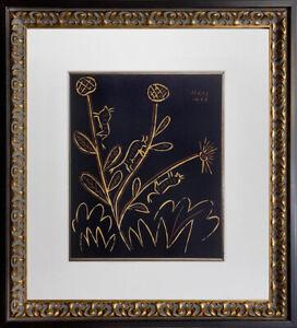 "Pablo Picasso Linogravure Ltd Edition ""Plante Aux Toritos""1959 w/Frame Included"