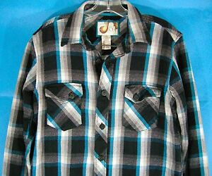 Ocean-Pacific-Mens-L-Plaid-OP-Surfer-Shirt-Cotton-Retro-Blue-Black-White-VTG