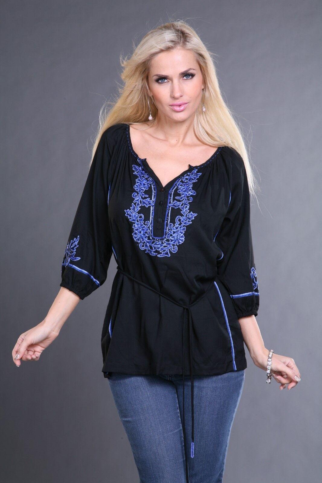 Woherren Top Tunic Blouse Krista Lee Simba schwarz Blau Embroidery Embellished