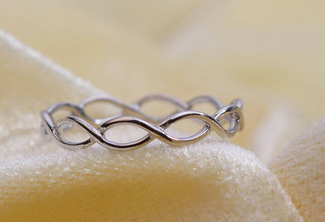 10K solid white gold twist ring infinity twist weddng ring twisted   Unique ring