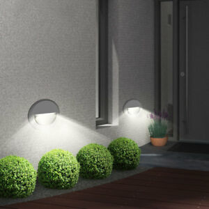 2 x led wand au en leuchte treppen stufen strahler haus wand einbau lampen ip65 ebay. Black Bedroom Furniture Sets. Home Design Ideas