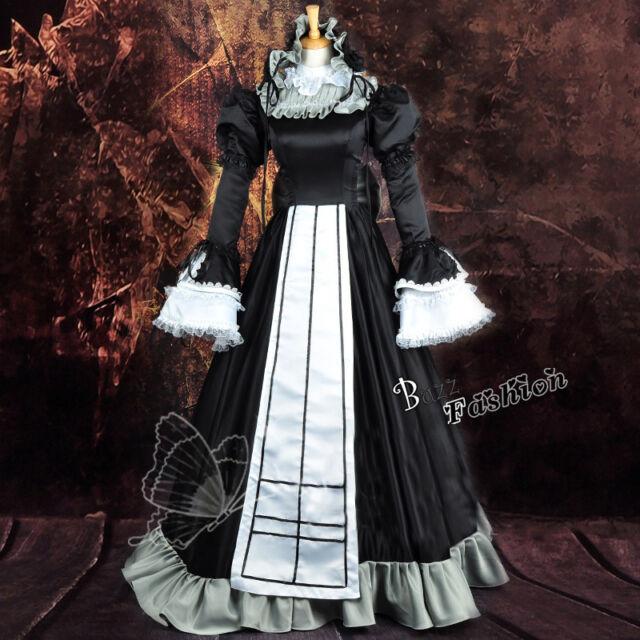 GOSICK Victoria Dickes Satin Cosplay Kostüm Kleid Retro Palast Dress +Haarbänder