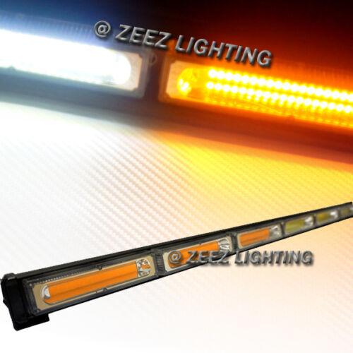 Amber/&White 60W COB LED Traffic Advisor Emergency Strobe Warning Light Bar C03