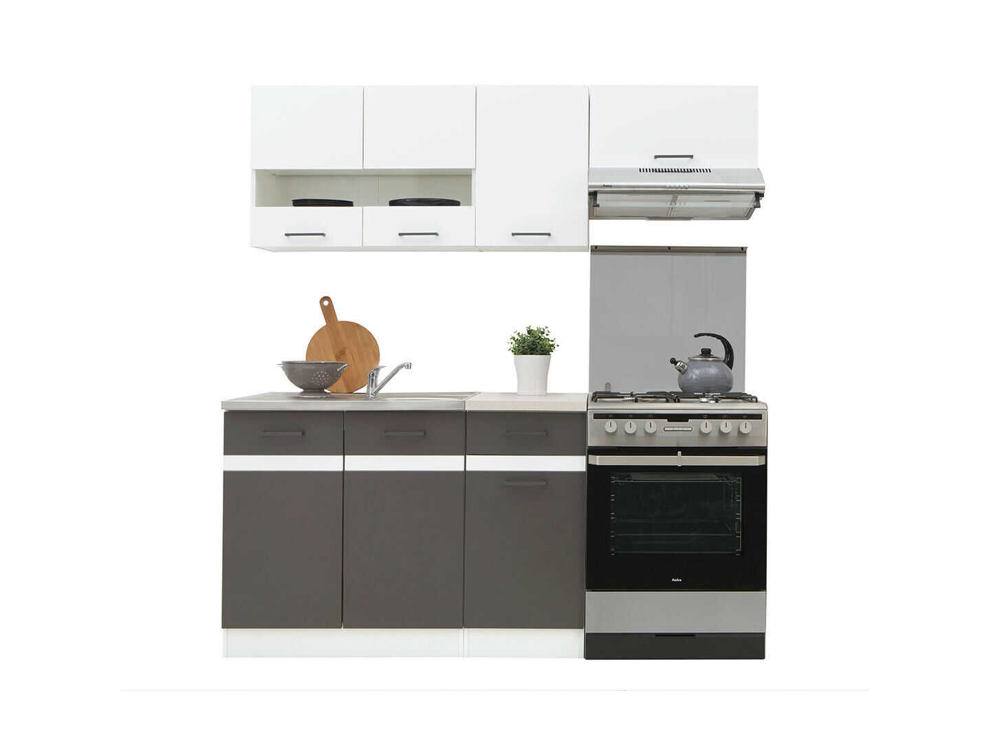 5 kitchen units set, white high gloss and grey matt kitchen units Junona  180cm