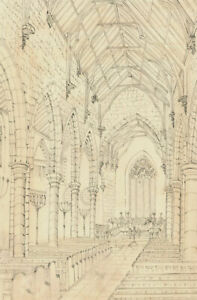 E.F. Boyd - 1866 Pen and Ink Drawing, Interior View, Chester-Le-Street Church