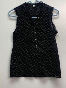 Old Navy sleeveless blouse top size S black polka dots cotton