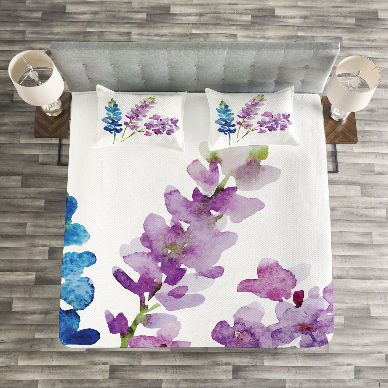 Floral Quilted Bedspread & Pillow Shams Set, Watercolor Bouquet Art Print
