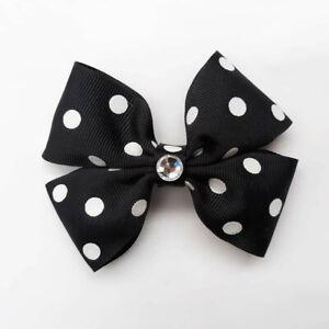 Toddler Bow Headband Polka Dot Bow Hair Bow Dot Print Bow Hand Tied Bow Polka Dot Baby Headband Bow Black and White Hair Bow