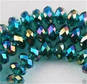 New-Faceted-145pcs-Rondelle-glass-crystal-3-4mm-Beads-Peacock-Green-AB