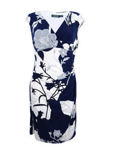 Lauren-by-Ralph-Lauren-Women-039-s-Petite-Floral-Sheath-Dress-14P-Deep-Sapphire