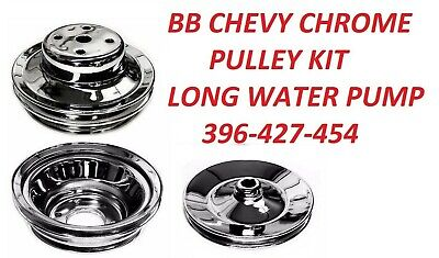 Water Pump Pulley Steel Chrome Double Groove Long Pump 396 427 454 chevy gmc