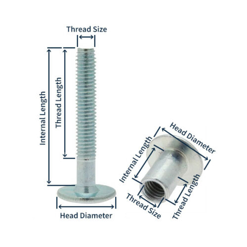 Set Of 10 Threaded Furniture Connector Nut /& Bolts M6 103-112mm Joint Connector
