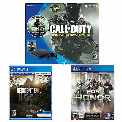 PlayStation 4 Slim 500GB Console COD IW Bundle+ Resident Evil + For Honor