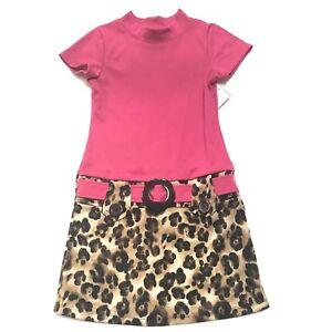 Rare-Editions-Dress-Girls-Size-8-Leopard-Animal-Print-Pink-Retro-Flower-Buckle