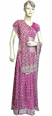 Om Vintage Indian Wedding Hand Beaded Zardozi Purple Lehenga,blouse,dupatta Lp6 Clothing, Shoes & Accessories