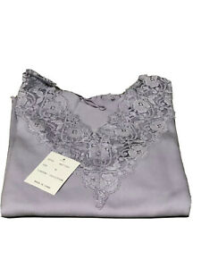 BOSTON PROPER Lilac Ribbed Cotton Knit Top Lace Trim V-Neck Sz M Long Sleeve NWT