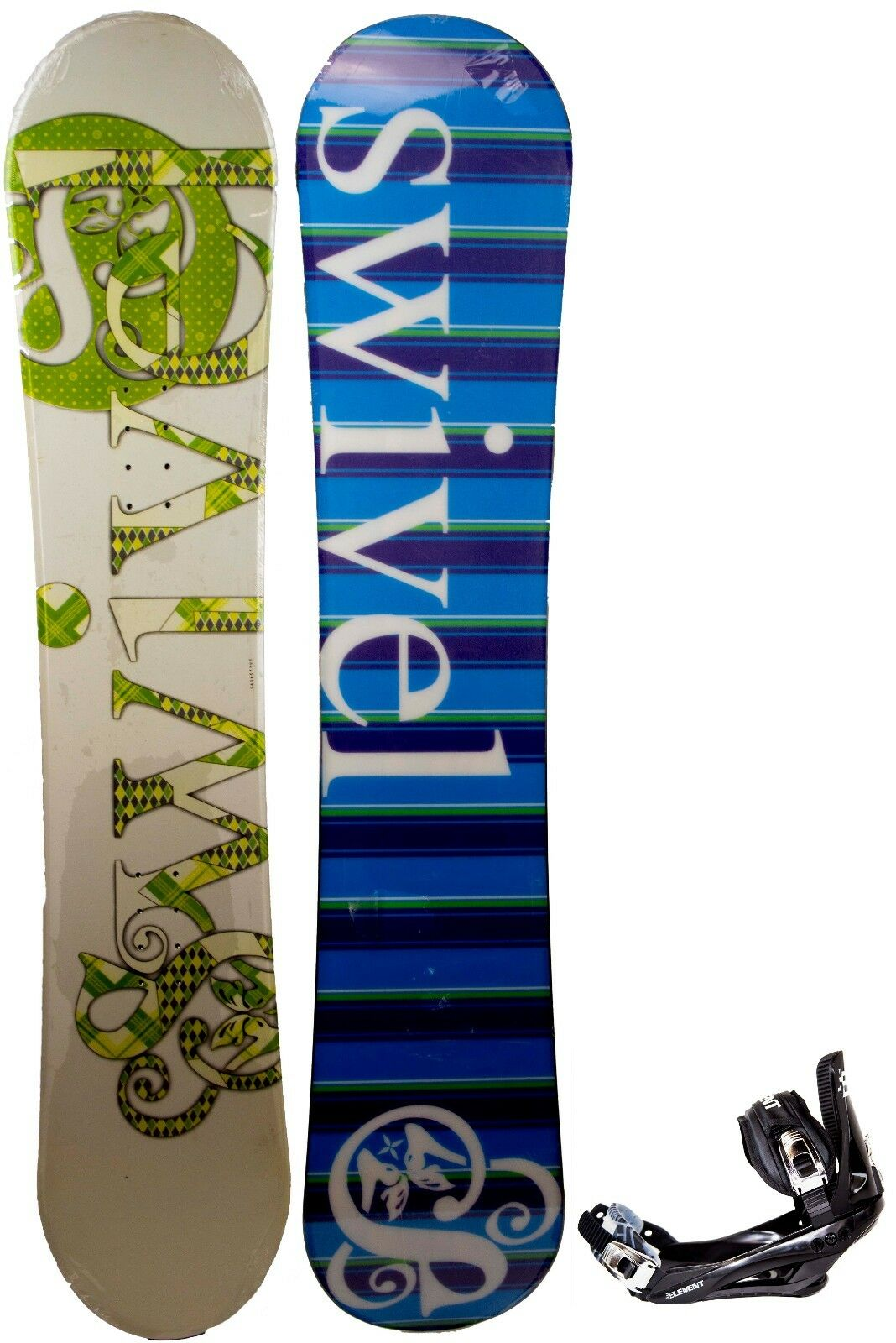 Womens Swivel Green Paisley Snowboard + Bindings Combo 140CM Camber Ride