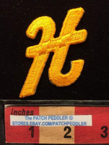 "LETTERS Yellow Script 3/"" Diag Letter /""H/"" Patch Embroidered Appliqué Initial 62E2"