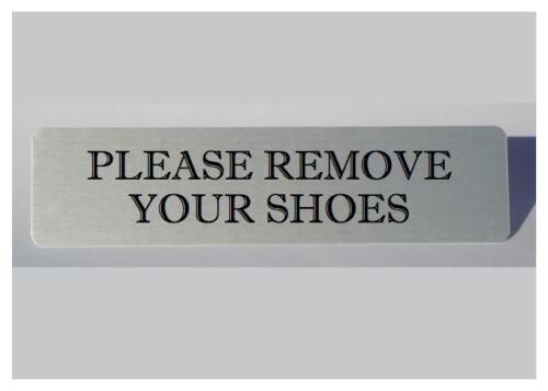 Grandes signos vitales eliminar sus zapatos limpiar los pies-De Metal Plateado Casa Puerta Placa.