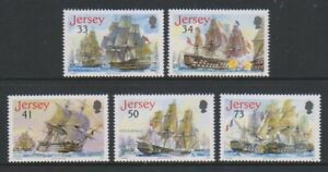 Jersey-2005-Schlacht-Trafalgar-Schiffe-Set-MNH-Sg-1247-51