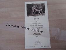 MENU RESTAURANT HOTEL CONTINENTAL PARIS 1964