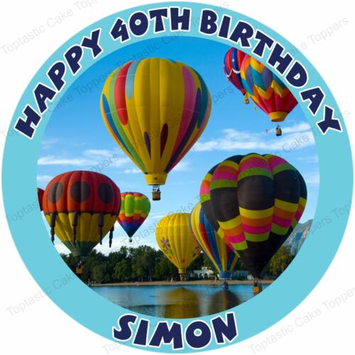 Personalised Hot Air Balloons Ballooning Edible Icing Birthday Party Cake Topper