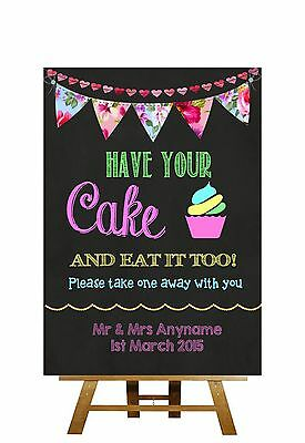 Bright Chalkboard Style Take A Cup Cake Personalised Wedding Sign
